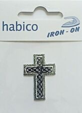 Habico Black & Silver Cross Religion Iron on Motif Patch Child or Adult