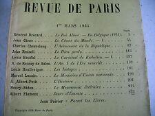 LA REVUE DE PARIS n° 5 - 1934 revue littéraire GIONO BATIFFOL HOULLEVIGNE etc