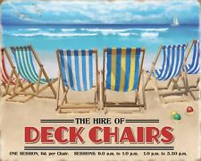 "10"" x 8"" DECK CHAIRS FOR HIRE RENT BEACH SEASIDE HOLIDAYS METAL PLAQUE SIGN 724"
