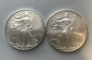 EM825  2- 2009 American Silver Eagle Coins  2oz Of Silver Excellent Condition