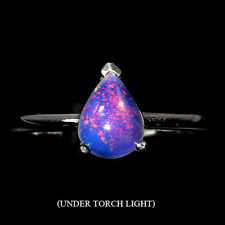 AMAZING NATURAL PEAR CAB 8x6mm HOT RAINBOW FIRE OPAL STERLING 925 SILVER RING 6