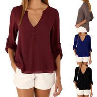 Women V-neck Tops Chiffon Shirt Blouse Tops Long Sleeve Back Button Casual Solid