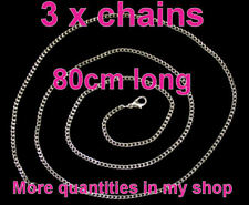 """3 x 30"""" long 80cm 925 silver plated 2mm CURB CHAINS pendant/watch/necklace"""