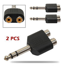 "6.35mm 1/4"" Stereo Plug To 2RCA Female Jack Splitter Audio Adapter Converter 2x"