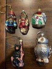 Lot Glass Blown Christmas Ornaments Animals Owl Bear