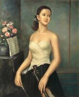 """Lady Violinist, 24""""x 20"""" Oil Painting on Canvas, Genuine hand painted"""