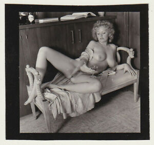 Original vintage 1970s reclining nude, contact print