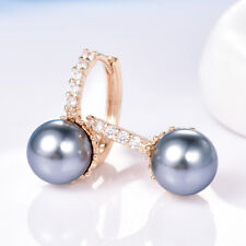 Women Sparkly Swarovski Crystal Grey Pearl Leverback Earrings Jewellery 9mm