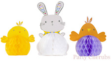 EASTER DECORATIONS X 3 HONEYCOMBS - CHICKS & RABBIT