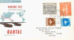 INDIA 1959 Qantas Boeing 707 Jet Flight superb maiden flight CALCUTTA - SYDNEY