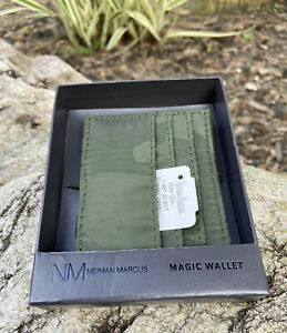Neiman Marcus Camouflage Magic Wallet Id Holder Faux Leather Camo Fabric Box NWT