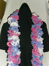 Ladies Hand Knitted Bolero Scarf Pink Violet & White Approx 150cm Long