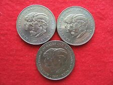 THREE 1981  'CHARLES AND DIANA'  WEDDING COMMEMORATIVE 25 PENCE CROWN COINS