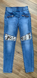GIRL'S JUSTICE SUPER STRETCHY SILVER SEQUINED MID RISE JEGGINGS JEANS SIZE 10