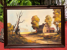 Vintage Philippines Oil Painting Signed Filipino Artist Landscape Farm Framed
