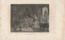 Wallenstein's Tod - Stahlstich 1834 - 1840 Original Dreissigjähriger Krieg