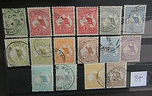 AUSTRALIA - COLLECTION OF ORIGINAL 1913/14 KANGEROO ISSUES TO 2/ - WMK 2