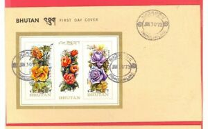 Bhutan Topic Flower ROSE S/S on FDC Cover