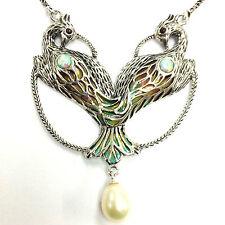 Art Nouveau plique un ópalo de Pavo Real Perla Gilson Jour Esmalte Collar De Plata 925