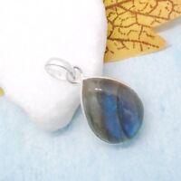 Labradorit blau-grün Tropfen Design Amulett Anhänger 925 Sterling Silber neu