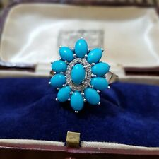 925 STERLING SILVER RING, SLEEPING BEAUTY TURQUOISE & WHITE TOPAZ, SIZE V½, NEW