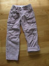 Girls Vertbaudet mauve butterfly print turn up pull-on style trousers, 5 yrs