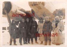 Piloten Gruppenfoto Flugzeug Ju 88 A-1 des KG3  Flugplatz Dno Russland Ostfront
