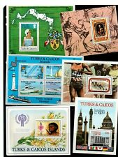 TURKS & CAICOS 1977/80 EIGHT ATTRACTIVE MINIATURE SHEETS.  DETAILS BELOW