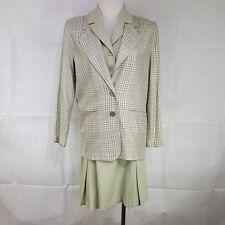 Tofy Brand Vest M Skirt 6 Plaid Maggie Lawrence Blazer 3 Pc Set Suit Light Green