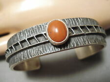 IMPORTANT NAVAJO DOMED CORAL STERLING SILVER NATIVE AMERICAN BRACELET