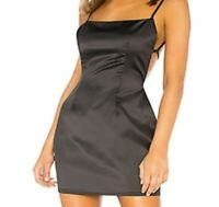 Revolve Superdown Black Satin -Poly BodyCon Open Back Womens Dress Size Small S