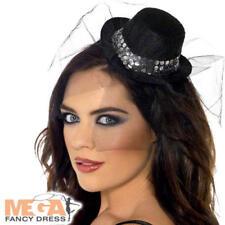 Black Mini Top Hat Fancy Dress Costume Halloween Burlesque Ladies Hen Accessory