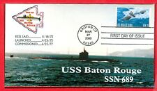 First Day issue Submarine stamp Mar.27,2000 cachet USS Baton Rouge SSN-689