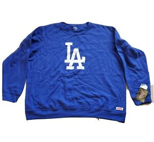 Stitches MLB Los Angeles Dodgers Royal Blue LA Logo Hoodie Sweater Men 2XL NEW