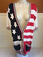 Women's Cardigan Sweater Medium Patriotic Stars American Flag USA Red White Blue