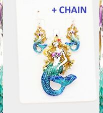 Big Pendant Earrings + Chain Necklace Silver Ocean Sea Life Mermaid Tail Set