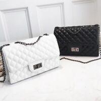 Women Quilted Chain Bag PU Leather Shoulder Bag Crossbody Handbag Messenger HOT