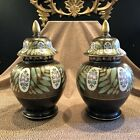 Vintage Pair Of Czech Hand Painted Porcelain Urns with Lids and Gilt Details