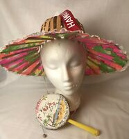 VINTAGE FOLDING BAMBOO FAN SUNHAT And CHILDS HAND DRUM HAWAII VACATION SOUVENIRS
