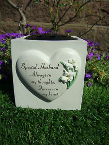 Husband Heart Lily Memorial Vase (rose bowl) Fathers Day Grave Garden Ornament