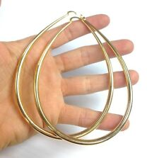 "New! Huge! 3.25"" 18K Yellow Gold Layered Pear Shaped Hoop Earrings"