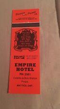 Matchbook Cover Empire Hotel Matrices Ontario Canada Orange  Unstruck