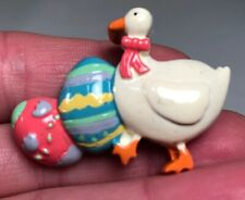 Easter Brooch Duck Goose Eggs 1.75� X 1.25� Vintage