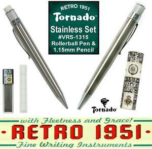 Retro 51 Stainless Rollerball Pen & 1.15 mm Mechanical Pencil Set #VRS-1315