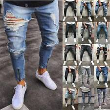 Mens Super Skinny Fit Ripped Jeans Stretch Biker Distressed Denim Pants Trousers