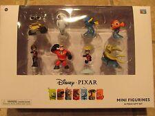 New Disney Pixar Mini Figurines 8pc Collector Figure Set Incredibles Nemo Wall-E