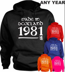 Made In Scotland 40th New Funny Hoodie Birthday Present 1981