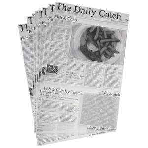 "THE DAILY CATCH Greaseproof Newspaper Design Printed 10X16"" Sheets Chips Liner"