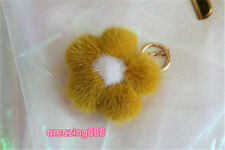 Top quality mink fur cherry flower luxury women bag charm key chain ornament