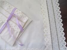 "Vintage Estate Wamsutta Cream King Pillow Sham Set Elegant 4"" Embroidery Lace"